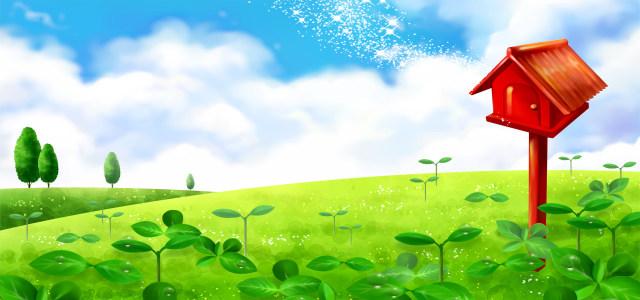 清新绿色卡通背景