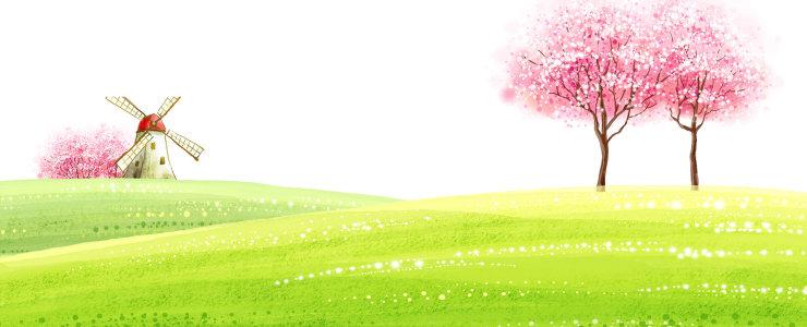 卡通清新手绘背景banner