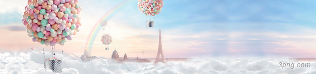 热气球唯美清新背景banner背景高清大图-热气球背景淡雅/清新/唯美