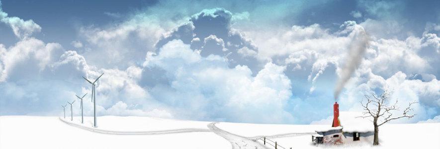 冬天风车banner创意设高清背景图片素材下载