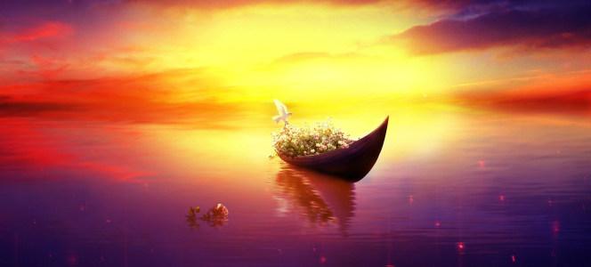 简约唯美暖色湖面背景海报