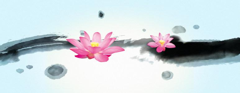 中国风水墨荷花背景banner