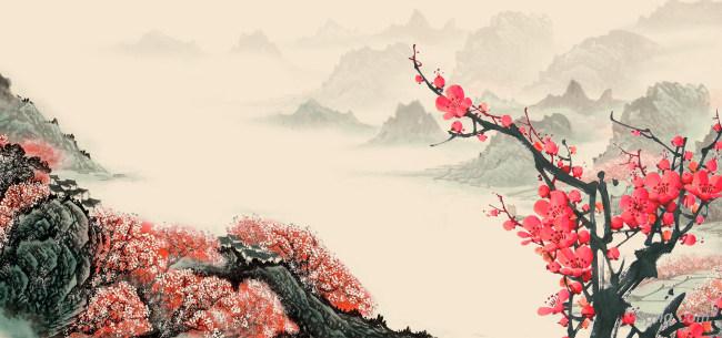 梅花中国风背景背景高清大图-中国背景Banner海报