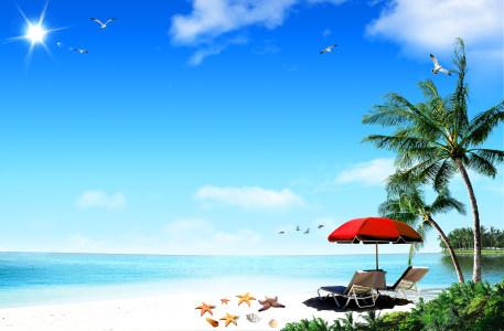 夏日海岸海滨风光背景