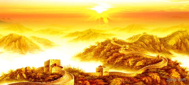 金色长城背景高清大图-长城背景其他图片