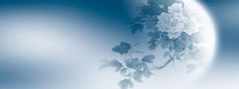 中秋蓝色月光古典背景