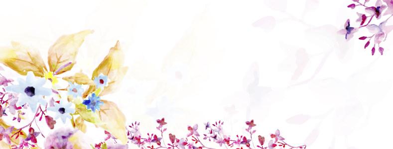 母亲节水彩花卉banner背景