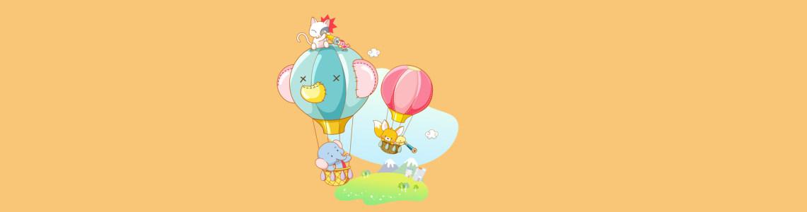 卡通热气球清新背景banner