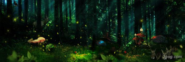 梦幻森林背景背景高清大图-背景背景Banner海报
