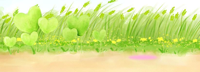 绿色手绘植物淘宝背景高清背景图片素材下载