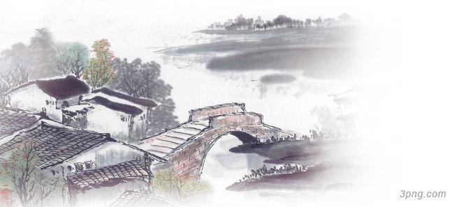 桥江南风景中国风背景banner背景高清大图-江南背景Banner海报