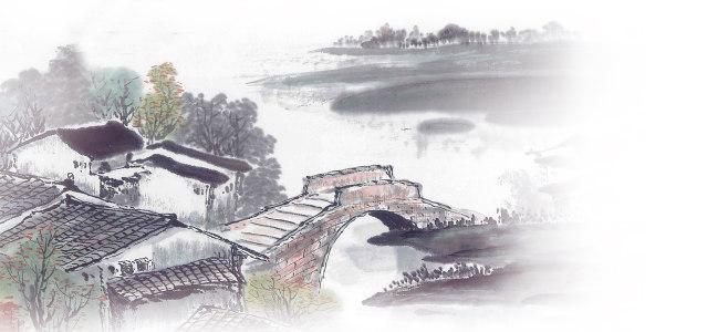 桥江南风景中国风背景banner高清背景图片素材下载