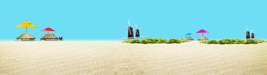 清新海滩沙滩背景banner高清背景图片素材下载