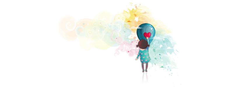 卡通手绘小女孩背景banner