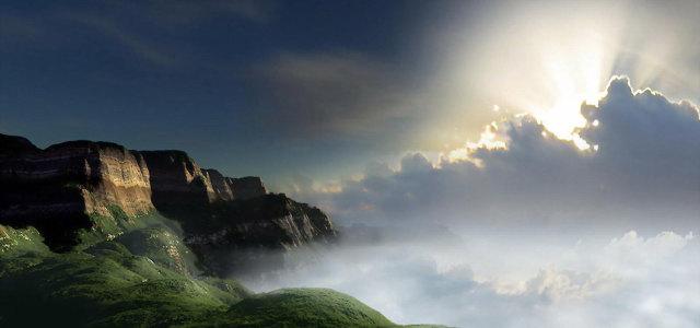 天空白云山峰背景高清背景图片素材下载