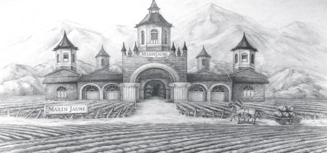 素描红酒庄园背景高清大图-素描背景卡通/手绘/水彩