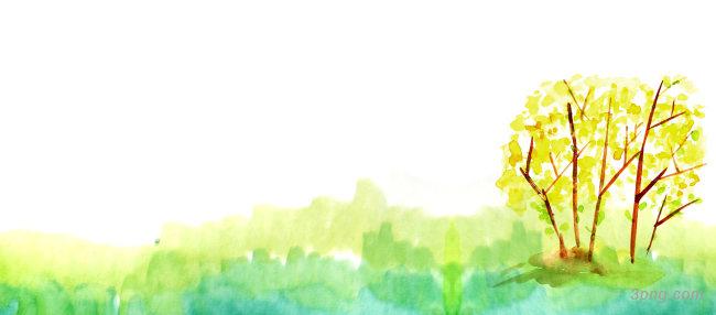 卡通手绘秋天树黄叶水彩背景banner背景高清大图-水彩背景Banner海报