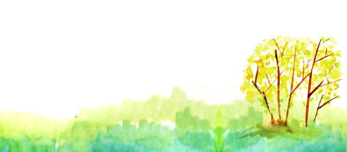 卡通手绘秋天树黄叶水彩背景banner