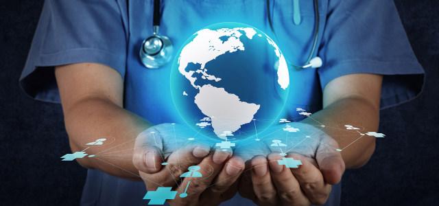 蓝色医疗科技手托地球