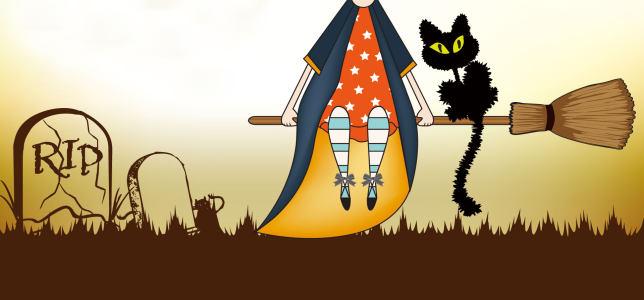 万圣节鬼节扫帚猫背景banner高清背景图片素材下载