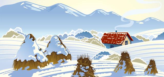 卡通雪山雪地小木屋高清背景图片素材下载