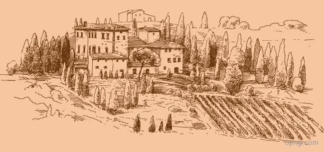 葡萄酒庄园手绘背景高清大图-庄园背景卡通/手绘/水彩