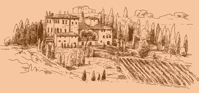 葡萄酒庄园手绘
