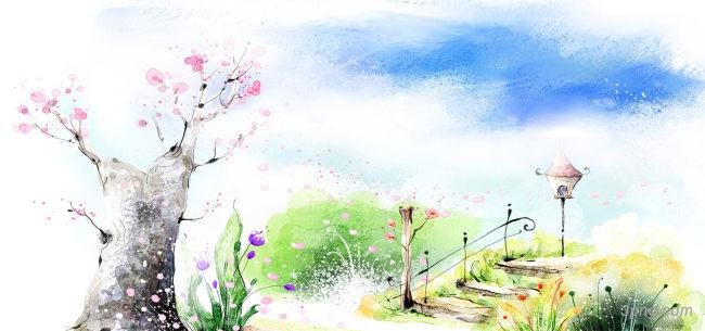 手绘梦幻背景背景高清大图-手绘背景卡通/手绘/水彩