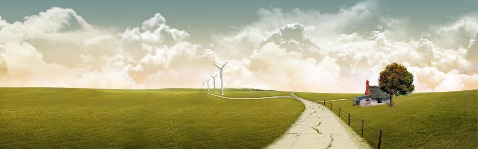 绿地风车唯美背景