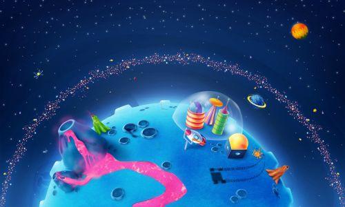 卡通星球背景