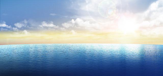 清晰蓝天大海背景高清背景图片素材下载