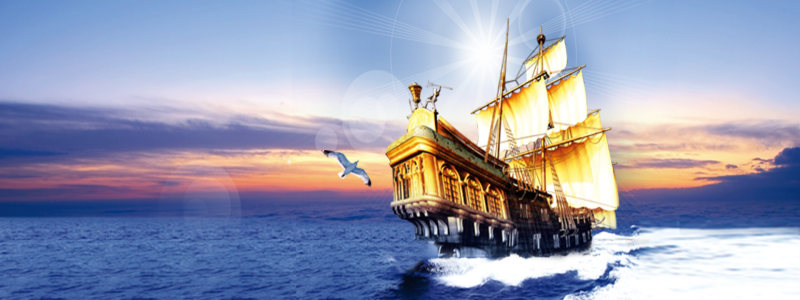 帆船大海背景
