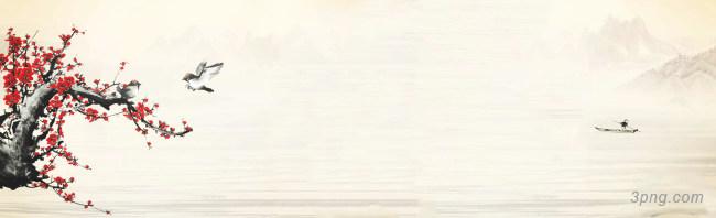 中国风山水画背景banner背景高清大图-山水画背景Banner海报