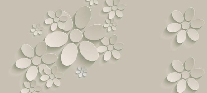 白色3D立体花背景banner