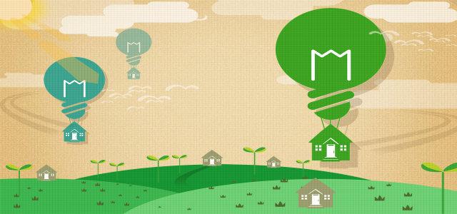 环保创意热气球背景