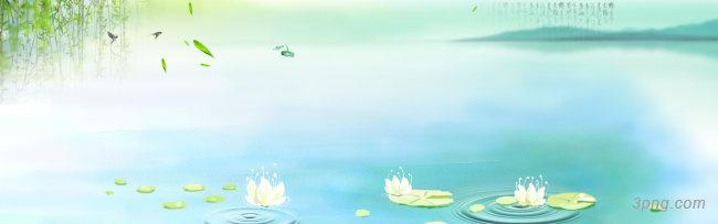 中国风垂柳荷花背景banner背景高清大图-荷花背景Banner海报