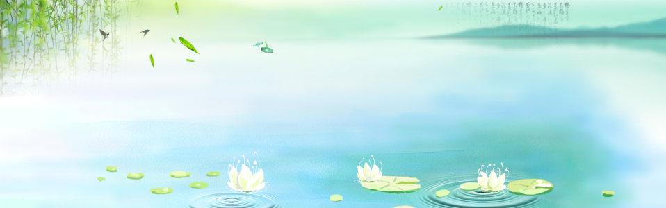 中国风垂柳荷花背景banner高清背景图片素材下载