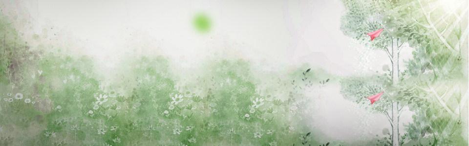 卡通淡绿色花树背景
