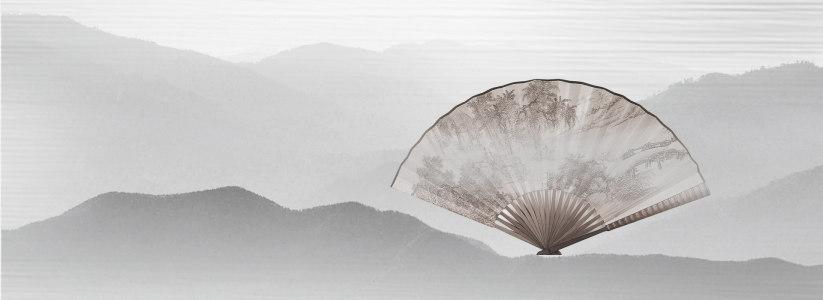 中国风水墨画画扇背景banner