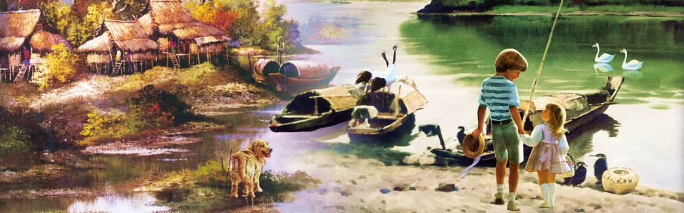田园油画背景
