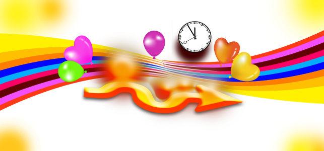气球彩色线条钟表背景banner