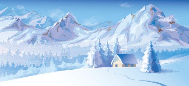 动漫冬季雪景背景banner
