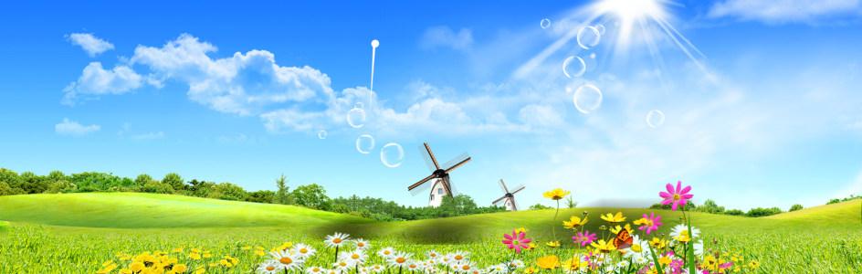 蓝天白云草地风车背景