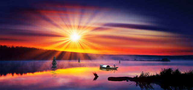 夕阳美景背景