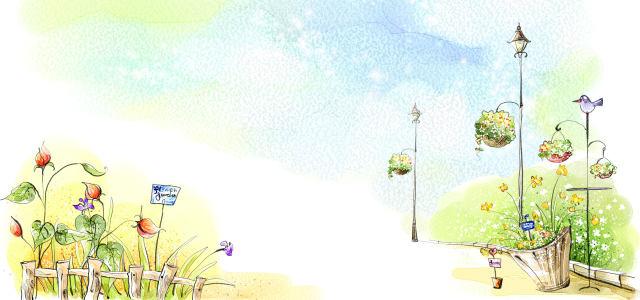 手绘鲜花满园彩绘背景
