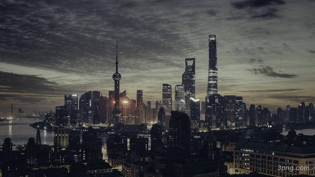 上海东方明珠夜景背景高清大图-东方明珠背景城市建筑