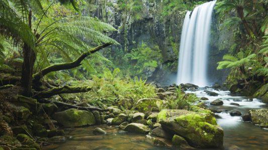 瀑布风景高清背景图片素材下载