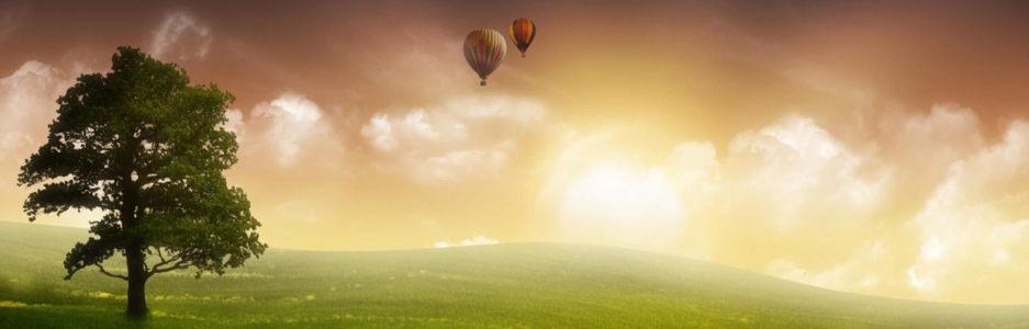 草原氢气球banner创意设计
