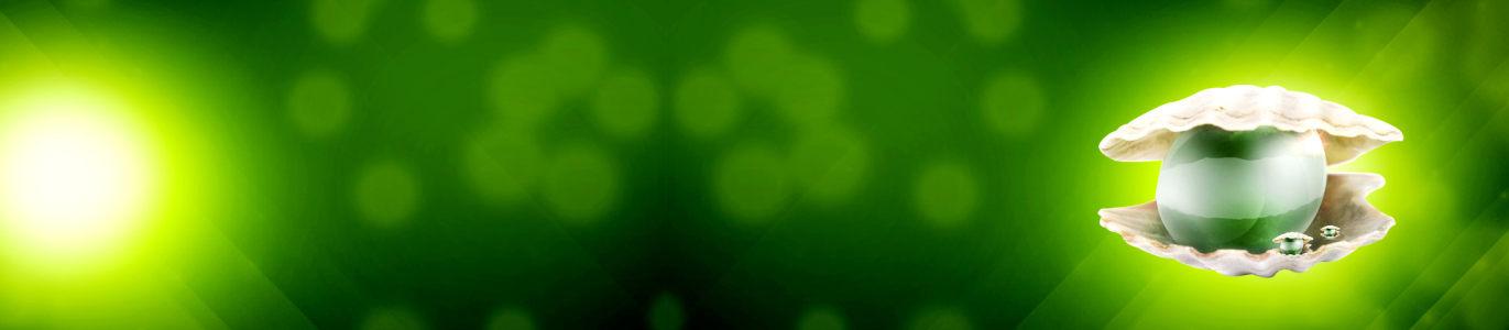 护肤品绿色珍珠清新背景banner