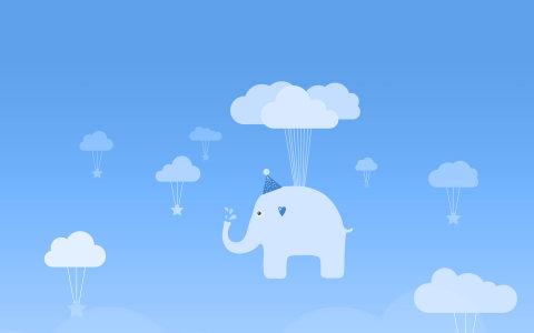 蓝色天空云彩小象高清背景图片素材下载